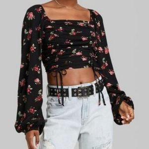 Wild Fable   Long Sleeve Cropped Cinch Front Top